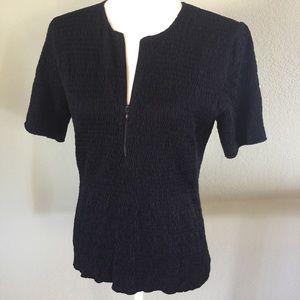 Akris Punto Tops - Akris Punto black cotton blend textured top