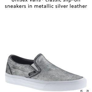 J. Crew xVans classic leather slip ons metallic