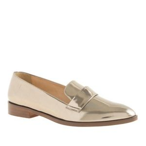 J. Crew Shoes - J. Crew metallic gold penny loafers