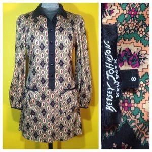 Betsey Johnson printed Shirt Dress, Size 8 / M