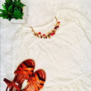 NWT Cream lace Blouse with Peplum Flare