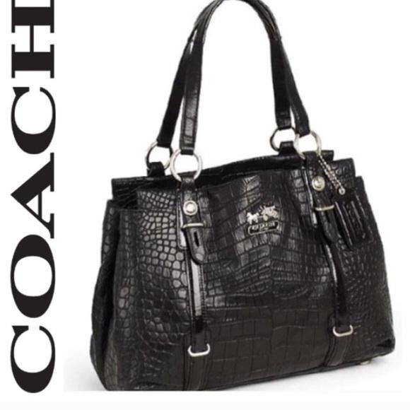 b14d13a8bdc942 Coach Bags | Mia Black Croc Embossed Shoulder Bag Edgy | Poshmark