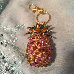 Betsey Johnson pineapple key ring/purse charm