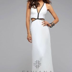 Faviana Dresses & Skirts - Faviana Long White Dress w/ black beaded V Neck 2