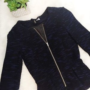 Blue and Black Peplum Blazer
