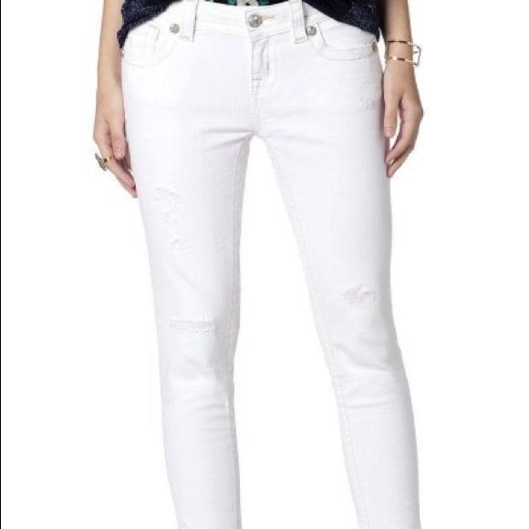 White mid-rise cuffed skinny Miss Me jeans! M 593f341e2599fe65a7014631 5e777e358