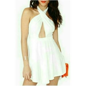 White nasty gal cut out skater dress
