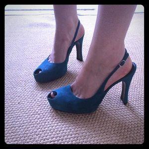Gorgeous teal suede CASADEI peep toe stilettos
