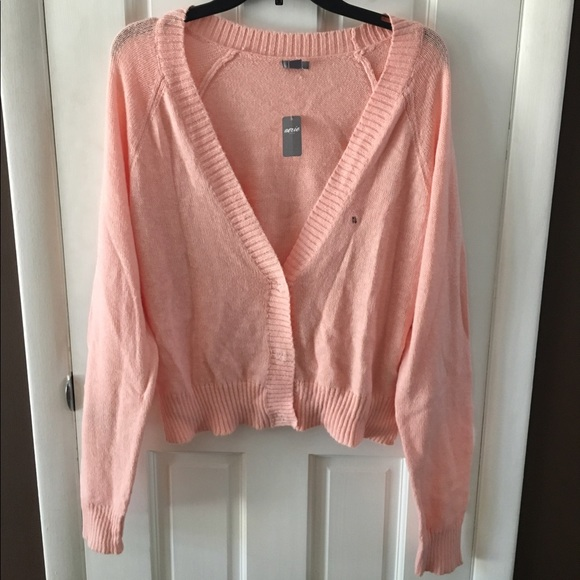 67% off aerie Sweaters - Aerie Light Pink Button-up Cardigan Size ...