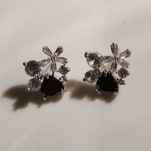 Life by Design Jewelry - Black & Clear Cubic Zirconia/ Silver Tone Earrings