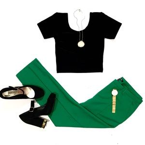 Pants - Awesome Kelly Green Ankle Crease Pants