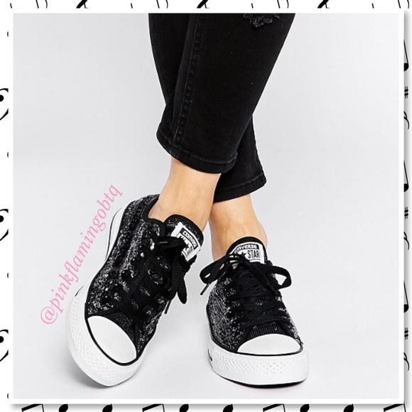 68807268e8c9 NWT Converse All-Star Low Top Black Sequin Sneaker