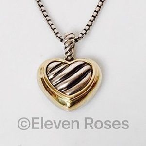 David Yurman Jewelry - David Yurman Sterling & 18k Cable Heart Necklace