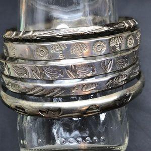 Mexcico Taxco Alpaca Jewelry - Set of 5 Vintage 925 Taxco Alpaca Sterling bangles