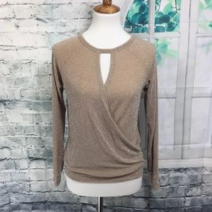 RACHEL Rachel Roy Tops - Rachel Rachel Roy Glitter Gold Knit Top Size XS