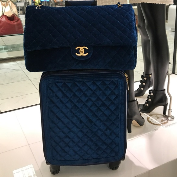 chanel xxl travel bag. chanel bags - authentic chanel xxl flap blue velvet xxl travel bag a