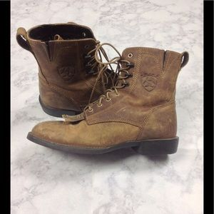 Ariat Shoes - Ariat Lace Up Brown Leather Roper Boots