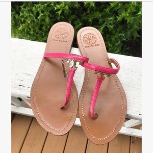 Tory Burch Shoes - Tory Burch T Logo Flat Sandal Pink