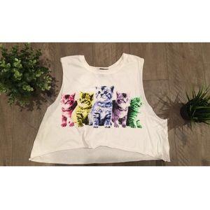Rainbow kitten shirt cat crop top