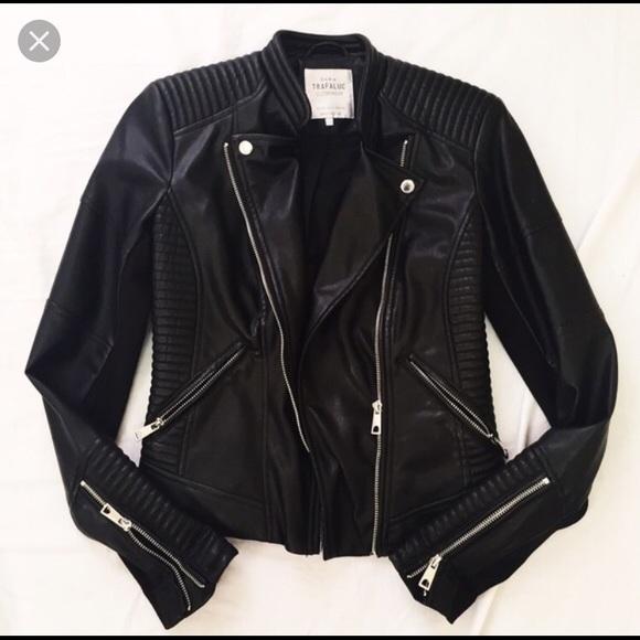 32% off Zara Jackets u0026 Blazers - Zara Trafaluc faux leather black moto jacket from Mirandau0026#39;s ...