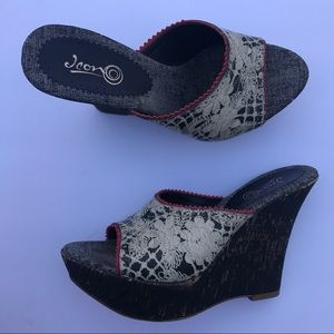 ICON Shoes - ICON Lace Print Italy Made Mule Wedges, 7