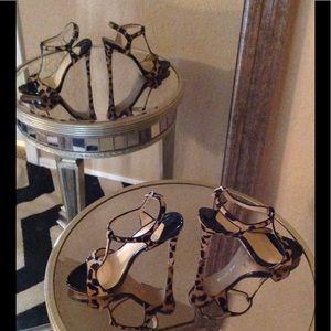 Shoes - Gianni Bini Leopard Dyed Calf Hair T-Strap Heels