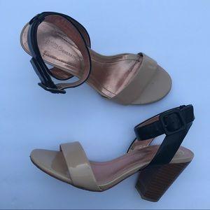 BCBGeneration Nude & Black Block Heel Sandal