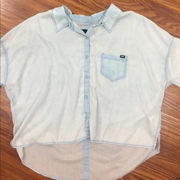744fa2f6c6 Vans high low sheer light blue cotton shirt. M 593f69a3bcd4a7be5e0088db