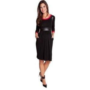 Olian Dresses & Skirts - Olian Maternity Victoria Pleather Trimmed Dress