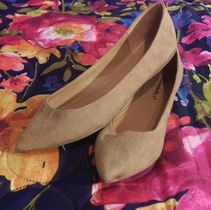 Breckelles Shoes - Tan Swede Flats