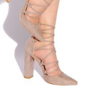 Shoes - Taupe Suede Lace Up Heels Chunky Heel