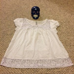 PacSun White Cap Sleeve Peasant Blouse size XL