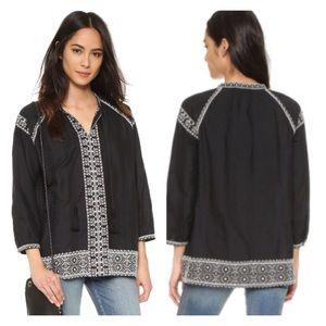 Madewell embroidered camelia tassel blouse L