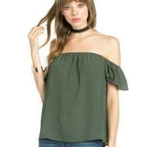 Olive short sleeve off shoulder top