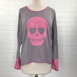 Vintage Havana Tops - Vintage Havana Gray Pink Skull Sweatshirt