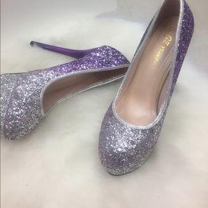 GZ Xian LV Shoes - Silver & Purple Glitter 6' Stilettos by GZ Xian Lv