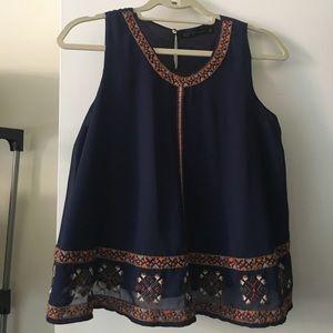 Zara basic never worn navy sleeveless blouse