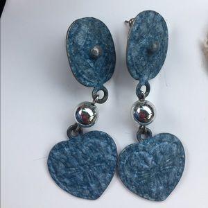 Jewelry - Blue Metal Heart Silver Tone Bead Pierced Earrings