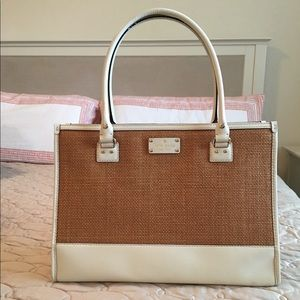 Kate Spade large natural/ raffia and leather bag