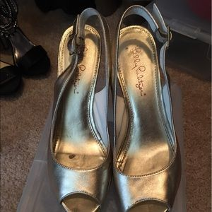 Lilly Pulitzer Kristen Wedge in Gold size 8