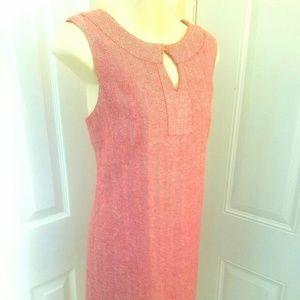 Soft red mod sheath dress Jackie o style tweed