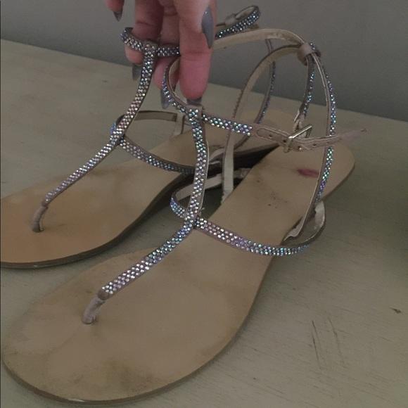 Leather Rhinestone Sandals   Poshmark