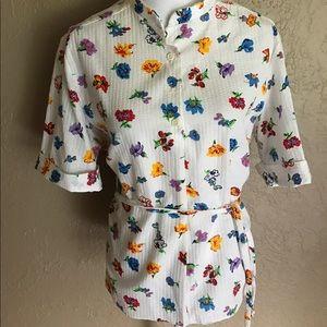 Vintage s/s Button Up Blouse tie waist Floral