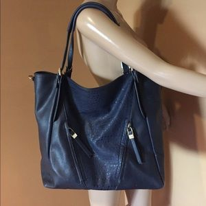 Urban Expressions Navy Faux Leather Tote Bag