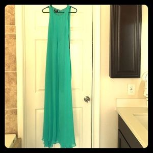 Bebe turquoise mini dress with sheer cover