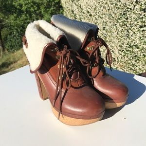 Lucky Brand Tanner Brown Lace Up Boots Booties 8