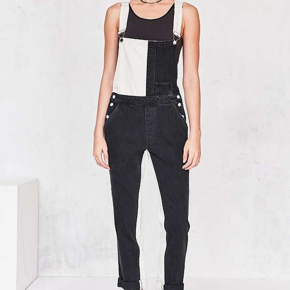 6e68d14a575 Black and White Colorblock Overalls - Paramore