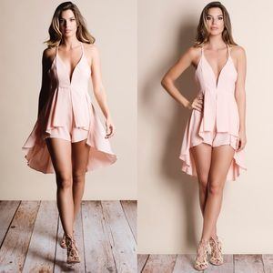 Flare Chiffon High Low Romper BLUSH