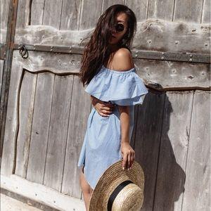 Dresses & Skirts - NWOT PoshSquare Pinstripe Off The Shoulder Dress