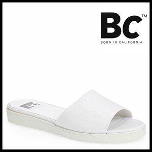 BC Footwear Shoes - WHITE MULE CROC EMBOSSED SLIP ON FLATS SANDALS